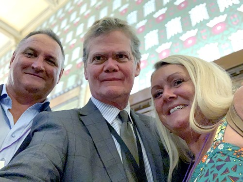 Magicman CEO Mark Henderson and his wife Vanessa with MP for Eastbourne Stephen Lloyd (centre)