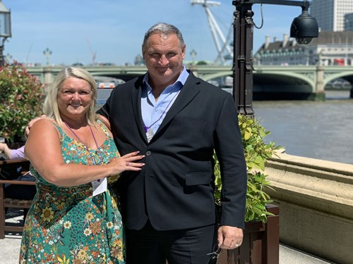 Vanessa and Mark Henderson at the Houses of Parliament, London